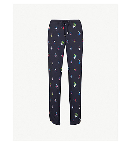 TED BAKER Tanyaa fly fish-print relaxed-fit crepe jogging bottoms (Navy