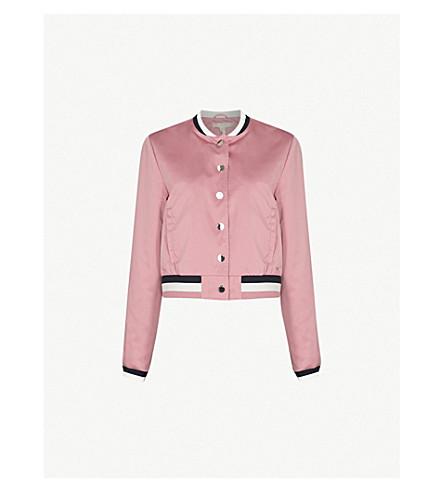 TED BAKER Striped-trim satin bomber jacket (Dusky+pink