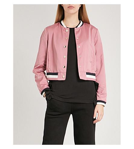 TED BAKER 条纹装饰缎带外套 (黑糊糊 + 粉红色