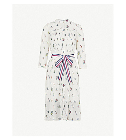 TED BAKER Zenaa fly fish-print chiffon dress (Ivory