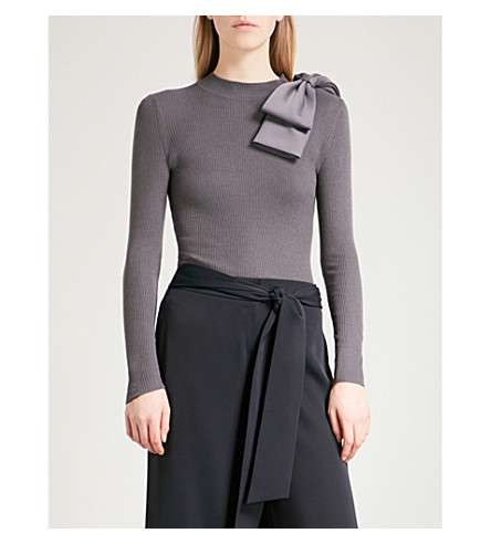 TED BAKER Bow-embroidered knitted jumper (Grey