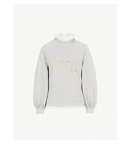 TED BAKER Ted Says Relax Kinslie cotton-jersey sweatshirt (Light+grey