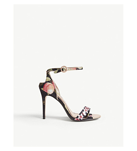 TED BAKER Mirobep Peach Blossom-print heeled sandal (Black