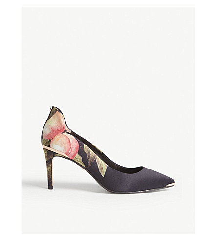TED BAKER Peach Blossom-print heeled courts (Black