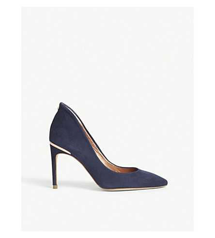 TED BAKER Savio II suede heeled courts (Navy