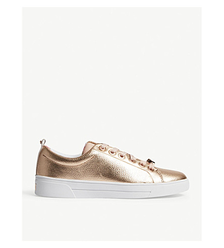 TED BAKER Kellei leather tennis trainers (Rose+gold
