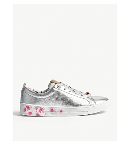TED BAKER Floral leather trainers (Silver