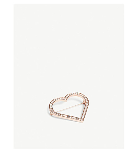TED BAKER Estrada crystal heart brooch (Clear