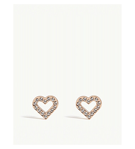 TED BAKER Crystal heart stud earrings (Clear