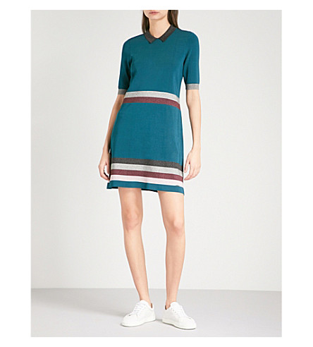 TED BAKER Colour by Numbers Erin metallic knitted dress (Teal