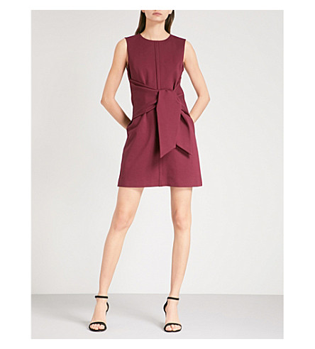 TED BAKER Colour by Numbers Aadila tie-front woven dress (Grape