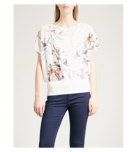 TED BAKER Opulent Fauna devoré top (White