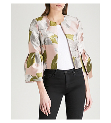 TED BAKER Franeo Chatsworth Bloom-print jacquard jacket (Dusky+pink