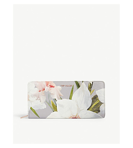 TED BAKER Anniie Chatsworth Bloom leather purse (Mid+grey