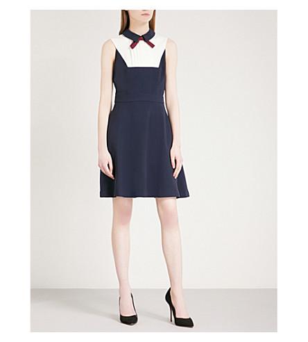 TED BAKER Miyylee bib-detail crepe dress (Navy