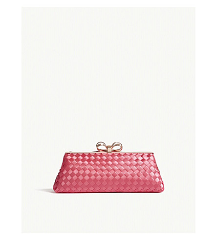 TED BAKER Alaina woven satin clutch bag (Mid+pink