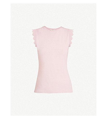 TED BAKER Scalloped stretch-jersey top (Dusky+pink