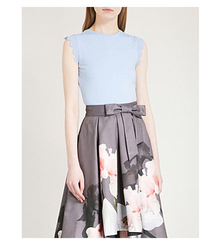 TED BAKER Scalloped stretch-jersey top (Pale+blue