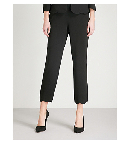 TED BAKER Rubeyet scallop-edged skinny crepe trousers (Black