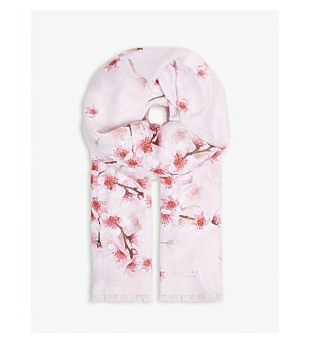 TED BAKER Blosem wide floral scarf (Light+pink