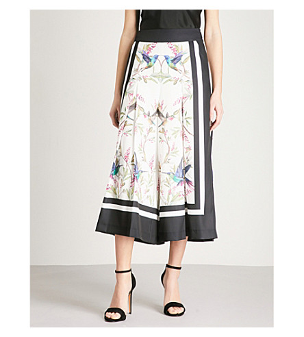 TED BAKER Highgrove pleated satin-twill culottes (White