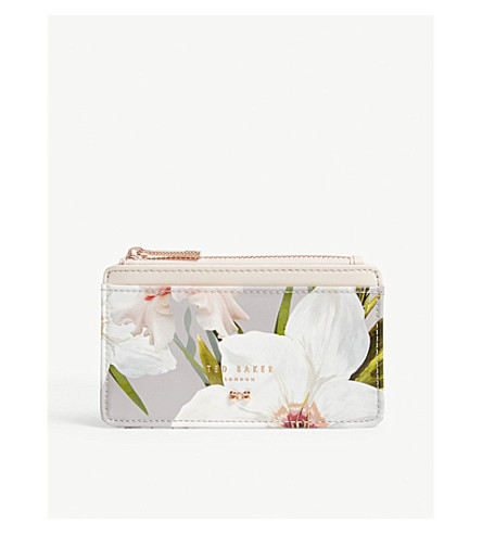 TED BAKER Deliiaa floral print card holder (Mid+grey