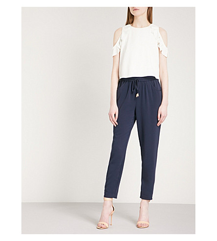TED BAKER Colour-block crepe jumpsuit (Navy