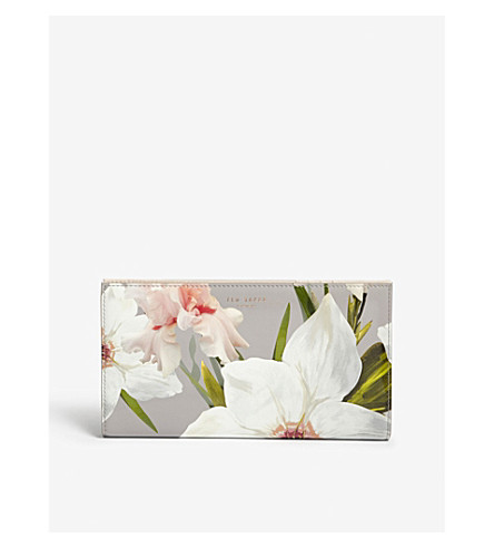TED BAKER Cassidy floral print leather travel wallet (Mid+grey