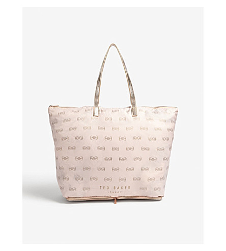 TED BAKER Jeb bow print foldaway shopper (Light+pink