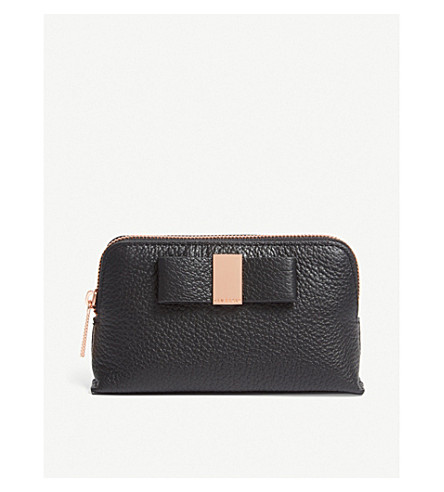 TED BAKER Raulph grained leather mini make-up bag (Black