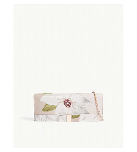 TED BAKER Korri chatsworth bloom jacquard clutch (Nude+pink