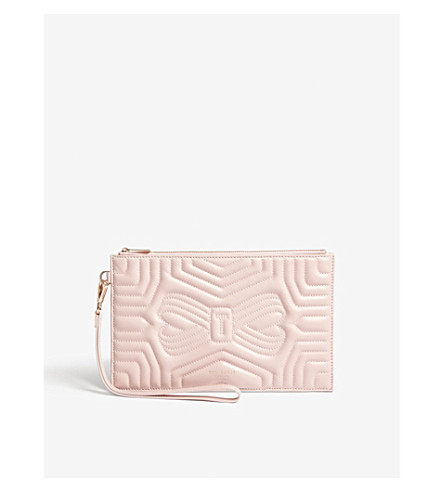 TED BAKER Quilted bow leather pouch (Light+pink