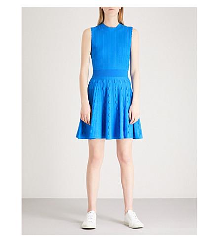 TED BAKER Kamylia scalloped-detail knitted skater dress (Bright+blue