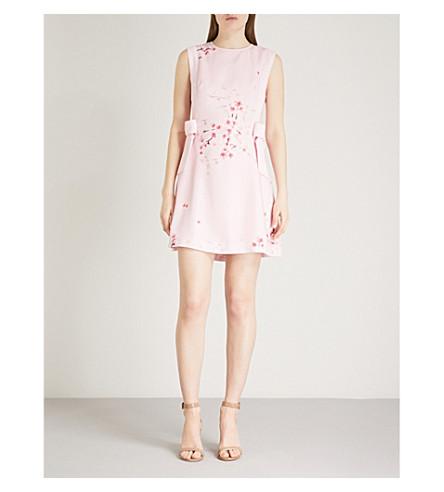 TED BAKER Seela bow-detail floral-print crepe de chine mini dress (Light+pink