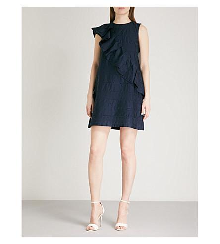 TED BAKER Mahlene ruffled embroidered cotton mini dress (Navy