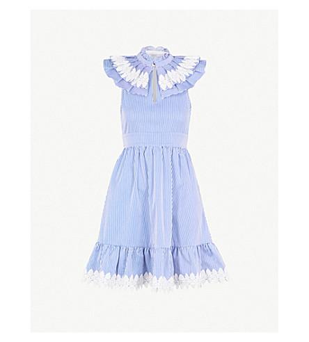 TED BAKER Kikkii ruffled pinstriped cotton dress (White
