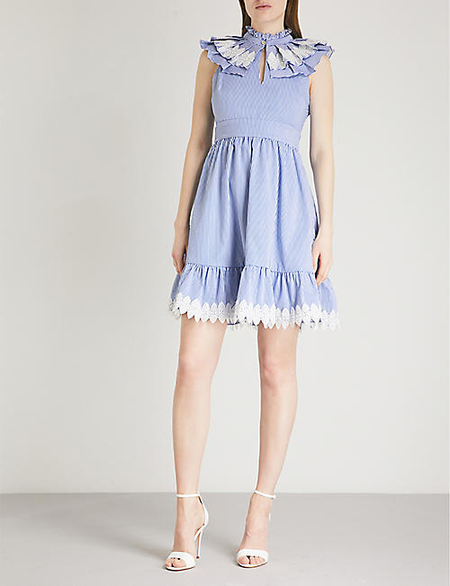 TED BAKER Kikkii ruffled pinstriped cotton dress