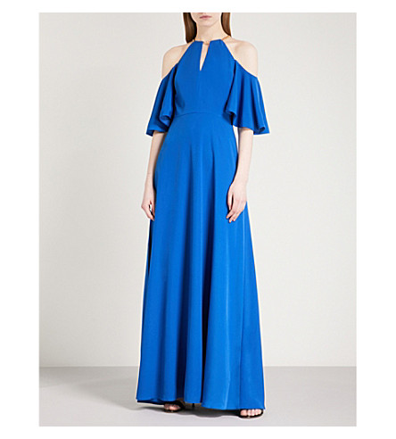 TED BAKER Cold-shoulder crepe maxi dress (Mid+blue