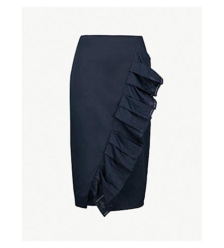 TED BAKER Ruffle pencil skirt (Navy