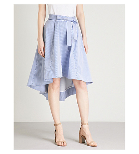 TED BAKER High-rise dropped hem skirt (White