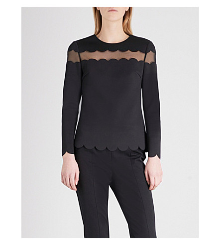 TED BAKER Laser-cut neoprene top (Black