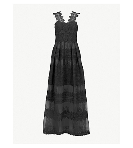 TED BAKER Layered lace maxi dress (Black