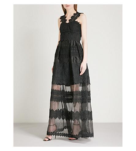 vestido capas Maxi de en BAKER encaje Negro TED PYq5EwB
