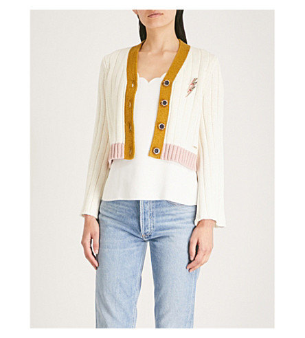 TED BAKER Lightning bolt pin cotton-linen blend cardigan Cream Cheap Sale Big Sale Buy Cheap Popular Pictures Online Outlet With Paypal Order VtHzYE