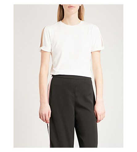 TED BAKER Knotted-cuff jersey T-shirt (Ivory