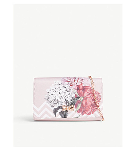 TED BAKER Sophh palace gardens canvas clutch (Dusky+pink