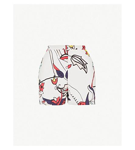 TED BAKER Deallia Jungle-print woven shorts (Ivory