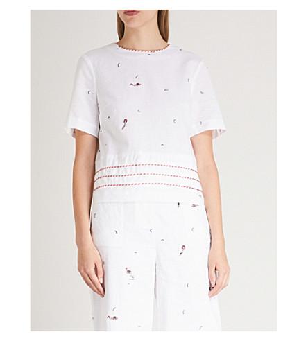 TED BAKER Nolene linen and cotton-blend top (Ivory