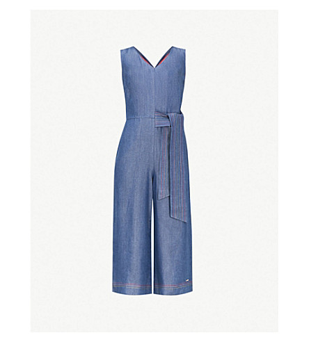 TED BAKER Tencel waist-tie crepe jumpsuit (Mid+wash