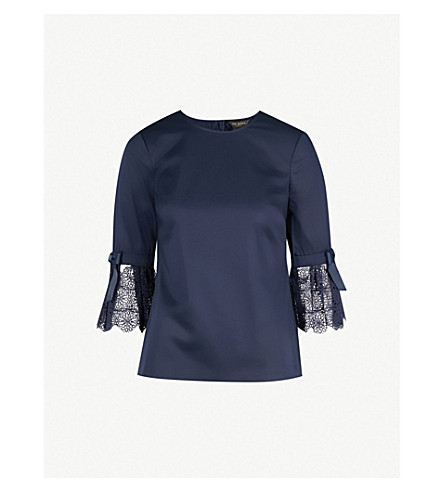 TED BAKER Lace and ribbon sleeved top (Navy